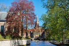 Vista del ponte e del canale, cigni bianchi, torre di chiesa a Bruges, Belguim Fotografia Stock
