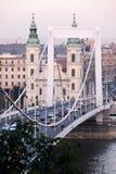 Vista del ponte Erzsébet a Budapest Immagine Stock Libera da Diritti