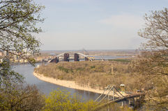 Vista del ponte non finito Fotografia Stock