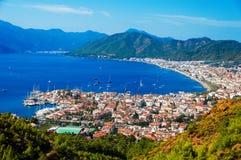 Vista del porticciolo di Marmaris sul turco Riviera fotografia stock libera da diritti