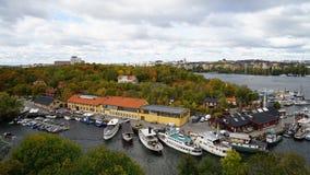 Vista del porticciolo, Stoccolma Fotografia Stock
