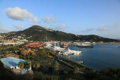 Vista del porto dell'yacht dal castello di Bluebeards Fotografia Stock Libera da Diritti