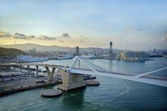 Vista del porto di Barcellona fotografie stock libere da diritti