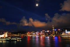 Vista del porto di Hong Kong Fotografie Stock Libere da Diritti