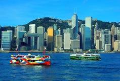 Vista del porto di Hong Kong Fotografie Stock