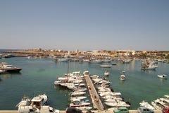 Vista del porto di Lampedusa Fotografia Stock Libera da Diritti
