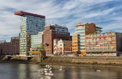 Vista del porto di media a Dusseldorf Immagini Stock Libere da Diritti