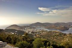 Vista del porto di Patmos Immagini Stock