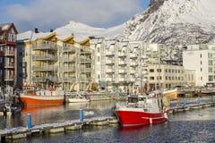 Vista del porto di Svolvaer Fotografia Stock