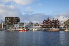 Vista del porto di Svolvaer Fotografie Stock