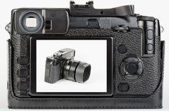 Vista del pozzo usata, macchina fotografica digitale dell'affissione a cristalli liquidi di retro stile Immagini Stock