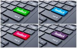 Vista del primo piano del bottone di risposte sulla tastiera Fotografia Stock Libera da Diritti