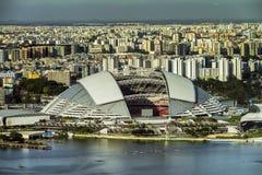 Vista del primo piano del hub di sport di Singapore Immagine Stock