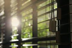 Vista del primo piano della finestra orizzontale soleggiata immagine stock