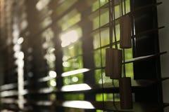 Vista del primo piano della finestra orizzontale soleggiata immagini stock