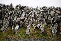 Vista del primo piano della parete di pietra, Irlanda Fotografia Stock Libera da Diritti