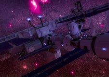Vista del primo piano di una stazione spaziale di fantascienza nello spazio cosmico Immagini Stock