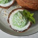 Vista del primo piano una metà della noce di cocco con il gelato verde della menta con il ramoscello dei chip della noce di cocco Fotografie Stock
