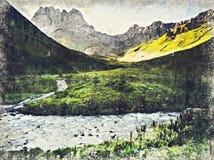 Vista del pueblo de Juta cerca de la montaña del Cáucaso, Georgia Digitaces AR ilustración del vector