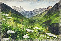 Vista del pueblo de Juta cerca de la montaña del Cáucaso, Georgia Digitaces AR stock de ilustración