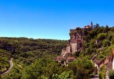 Vista del pueblo de Perigord de Rocamadour en Francia fotografía de archivo