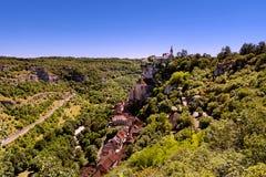Vista del pueblo de Perigord de Rocamadour en Francia imágenes de archivo libres de regalías