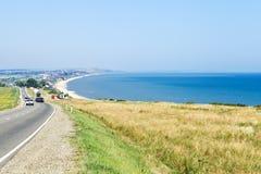 Vista del pueblo Golubitskaya del centro turístico en el mar de Azov Fotos de archivo libres de regalías