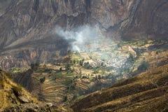 Vista del pueblo Huarhua Foto de archivo libre de regalías