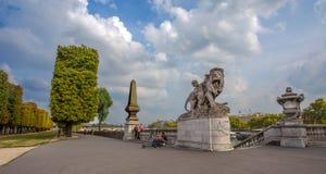 Vista del puente de Alejandro III sobre el río el Sena, que conecta Grand Palais y fotografía de archivo libre de regalías