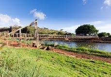 Vista del puente de balanceo famoso en Hanapepe Kauai imagenes de archivo