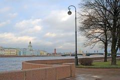 Vista del puente de Dvortsovy sobre el río de Neva imágenes de archivo libres de regalías