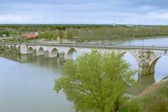 Vista del puente de Tordesillas Royalty Free Stock Image