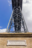 Vista del puente Oporto de Luis I de la parte inferior Imagen de archivo