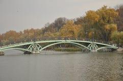 Vista del puente a Tsaritsyno Imágenes de archivo libres de regalías
