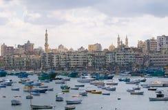Vista del puerto de Alexandría, Egipto Imagen de archivo libre de regalías
