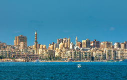 Vista del puerto de Alexandría, Egipto Imagenes de archivo
