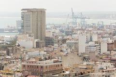 Vista del puerto de Alicante en España Imágenes de archivo libres de regalías