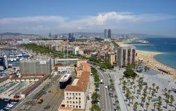 Vista del puerto de Barcelona Fotos de archivo libres de regalías
