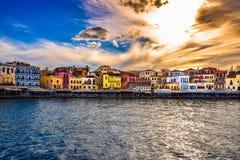 Vista del puerto de Chania Imagen de archivo libre de regalías