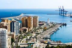 Vista del puerto de Málaga Imágenes de archivo libres de regalías