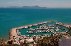 Vista del puerto de Sidi Bou Said, Túnez Foto de archivo libre de regalías