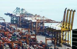 Vista del puerto de Singapur Fotos de archivo libres de regalías
