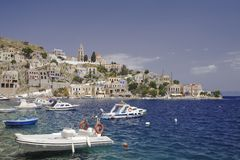 Vista del puerto de Symi Imagen de archivo libre de regalías