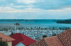 Vista del puerto deportivo del tejado, puerto deportivo del puerto del golfo, Auckland Fotos de archivo