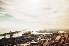 Vista del puerto en Barcelona foto de archivo