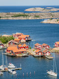 Vista del puerto en Hunnebostrand, Suecia Fotografía de archivo