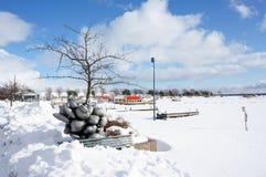 Vista del puerto en invierno Fotografía de archivo libre de regalías