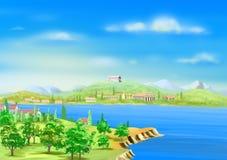 Vista del puerto del griego clásico en Sunny Summer Day ilustración del vector