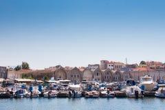 Vista del puerto veneciano de Chania Crete, Grecia fotos de archivo