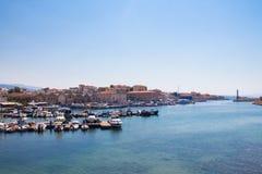 Vista del puerto veneciano de Chania Crete, Grecia fotografía de archivo libre de regalías